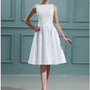 Beautiful A-line Bateau Neckline Knee Length Destination Lace Summer Wedding Dress