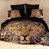 DIAIDI Leopard Animal Print 3D Bedding Oil Painting Duvet Cover King Size Luxury Comforter Set Cotton Twill Active Print Bed Sheets 4Pcs