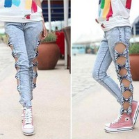 Stylish Hollow Bow Women's Skinny Pants