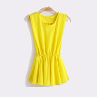 Free Shipping Scoop Neck Solid Color Chiffon Blouse - Yellow
