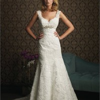 Off-the-shoulder Deep V-neck Empire Waist Applique Style A-line Wedding Dress WD1656