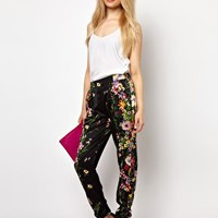 River Island Drape Trouser In Floral Print at asos.com