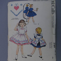 McCall's 2169, Child's Dress and Pinafore Pattern,size 4, uncut vintage pattern from 1957