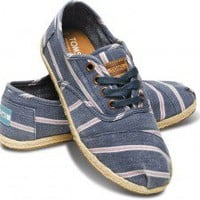 Navy Washed Stripe Women's Cordones | TOMS.com