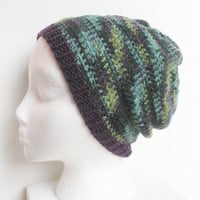 Crochet slouchy tam hat beanie in Purple Garden variegated, ready to ship.