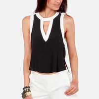Take a Peek Black and White Sleeveless Top