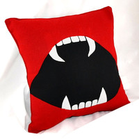 Vampire Fang Bite Me Pillow by YellowBugBoutique on Etsy