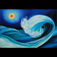 Rolling Wave 2, trendy oil painting 36x24 | donspricly - Painting on ArtFire