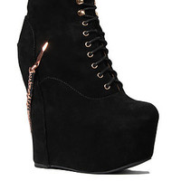 The Jeffrey Campbell Damsel Claw Shoe  in Black Suede and Copper