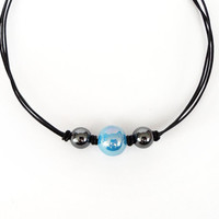 Knotted leather necklace blue ceramic bead hematite stones black cords rocker elegant