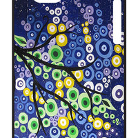 tree painting in blue yellow and green with midnight sky by cathyjacobs