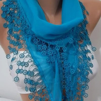 Super elegant scarf/shawl blue scarf  Mothers Day gift