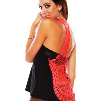 Papaya Clothing Online :: NEON CROCHET BACK CONTRAST TANK