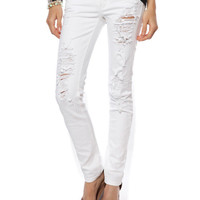 Papaya Clothing Online :: WHITE DESTROYED SKINNY JEANS