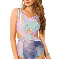 UNIF Bathing Suit Shorebreak Suit in Tie Dye Purple