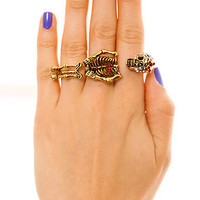 Mod4rn Trend Ring Chilly Bones Three Finger in Gold