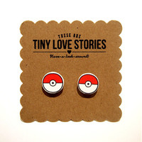 Tiny Love Stories | Pokemon Poke Ball Earrings