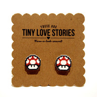 Tiny Love Stories | Super Mushroom Earrings in Red