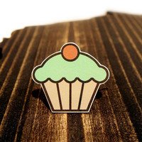 Tiny Love Stories | Mint Frosting Cupcake Brooch, Jewelry, Kawaii, Geekery, Nerd, Trendcore
