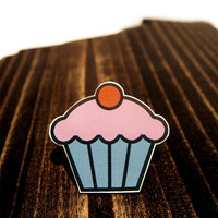 Strawberry Frosting Cupcake Brooch, Jewelry, Kawaii, Geekery, Nerd, Trendcore
