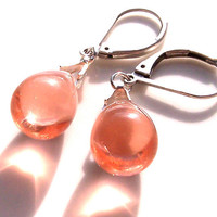 Peach Drop Earrings, Vintage Style, Pale Peach Pink Teardrop Beads, Sparkly, Classic, Elegant, Women's Jewelry