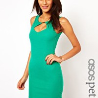 ASOS PETITE Exclusive Bodycon Dress with Low Cross Back at asos.com