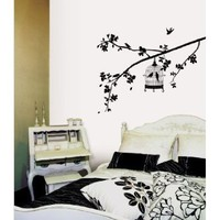 (20x28) Parisian Spring - Bird in Tree Silhouette Repositional Wall Decal:Amazon:Home & Kitchen