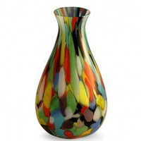 Novica &#x27;Carnival Colors&#x27; Murano Hand blown Vase - 163100 - Vases - Decorative Accents - Decor