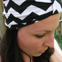 Black and White Chevron Headwrap, Wide Headband, Hair wrap, Jersey Fabric Head band, turband