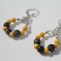 Silver Bright Yellow and Dark Gray Tagua Nut Hoop Earrings