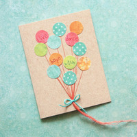Birthday Card: Balloon Wishes, Handmade birthday card