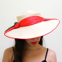 Vintage Wide Brim Sun Hat - Mid Century 1950s Red and Green Bow Hat / Floppy Beach Hat
