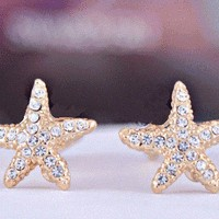 Starfish Full Rhinestone Fashion Earrings | LilyFair Jewelry