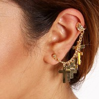 Gold Multi Cross Charm Earring Cuff