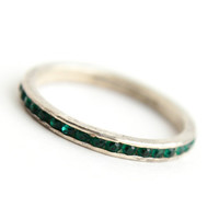Vintage Genuine Art Deco Sterling Silver Channel Ring -  Size 7 Emerald Green Stones 1930s Jewelry / Signed Uncas