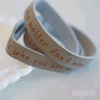 Be who you are engraved leather cuff by BookFiend on Etsy