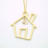 Gold Plated Home Necklace with Gold Filled Hand Stamped Petite Hearts, Custom Initial Letters, Family Initial Necklace