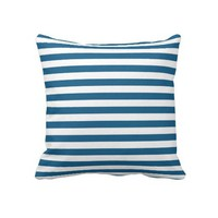 Navy and White Striped Throw Pillow from Zazzle.com