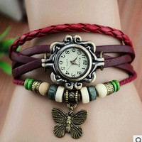 Lady Watch Vintage Style Wrist Watch Real Leather Bracelet, Handmade Women's Watch, Everyday Bracelet  PB039
