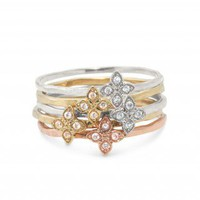 Mixed Metal Flower Rings | Moraley Flower Stackable Bands | Stella & Dot