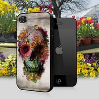 Floral Skull Illustration design for iPhone 4/4s Black Case