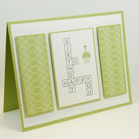 Happy Birthday Crossword Puzzle Handmade Greeting Card Green White