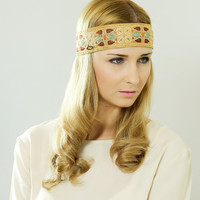 Boho Chic Headband, Beautiful Gold - Beige Ornate Detail, Crochet Sequin with Ribbon