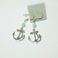 Nautical Anchor Earrings Mint Alabaster Swarovski by LuvaBead