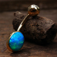 Electric Marine Blue Australian Opal / 18K Gold Belly Ring
