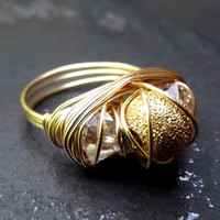 Gold Sparkle Statement Ring  Gold Wire Wrapped by SherryKayDesigns