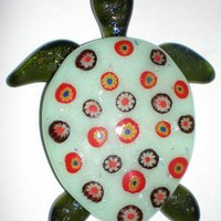 Fused glass turtle hang him on your wall or by JulesJewelsJewelry