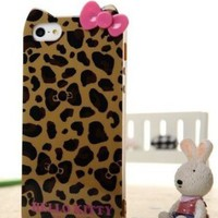 Hello Kitty TPU Leopard & Bow Case for Iphone 5 -- Yellow:Amazon:Cell Phones & Accessories
