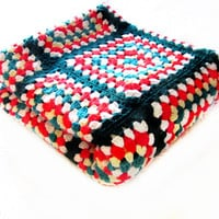 Handmade Crochet Afghan Blanket, Granny Square Throw