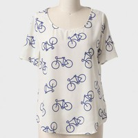 First Gear Bicycle Print Top at ShopRuche.com